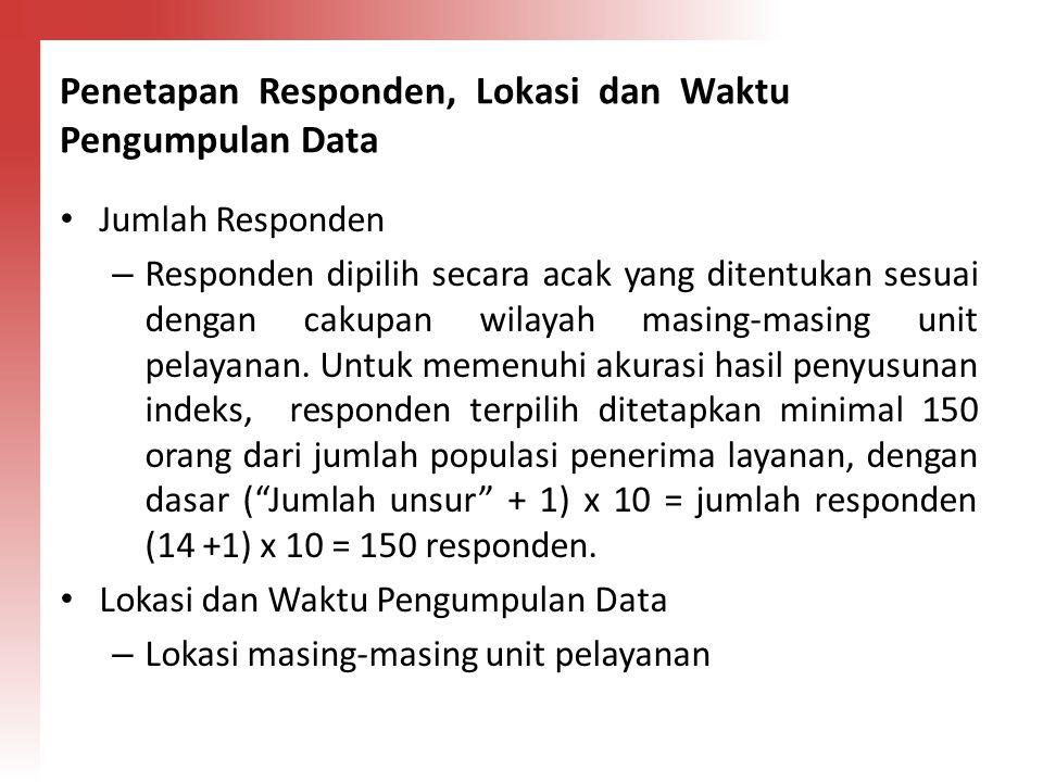 Penetapan Responden, Lokasi dan Waktu Pengumpulan Data Jumlah Responden – Responden dipilih secara acak yang ditentukan sesuai dengan cakupan wilayah