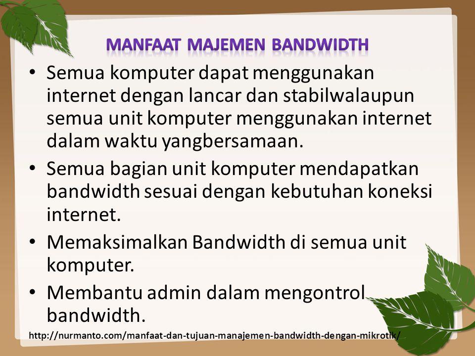 Semua komputer dapat menggunakan internet dengan lancar dan stabilwalaupun semua unit komputer menggunakan internet dalam waktu yangbersamaan. Semua b