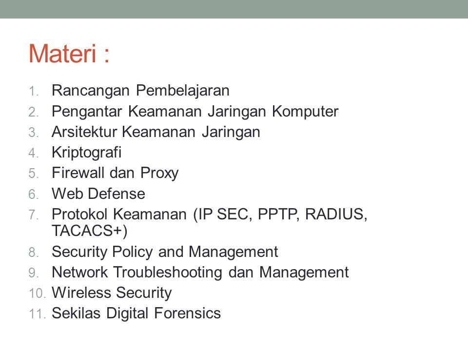 Materi : 1. Rancangan Pembelajaran 2. Pengantar Keamanan Jaringan Komputer 3. Arsitektur Keamanan Jaringan 4. Kriptografi 5. Firewall dan Proxy 6. Web