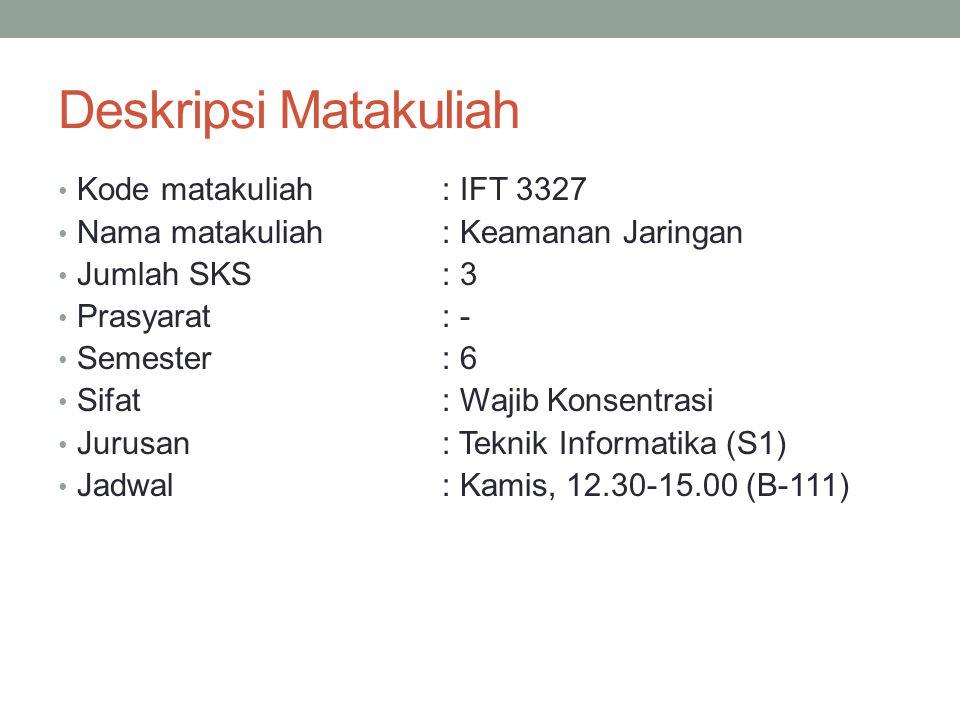 Deskripsi Matakuliah Kode matakuliah: IFT 3327 Nama matakuliah: Keamanan Jaringan Jumlah SKS: 3 Prasyarat: - Semester : 6 Sifat: Wajib Konsentrasi Jurusan: Teknik Informatika (S1) Jadwal: Kamis, 12.30-15.00 (B-111)