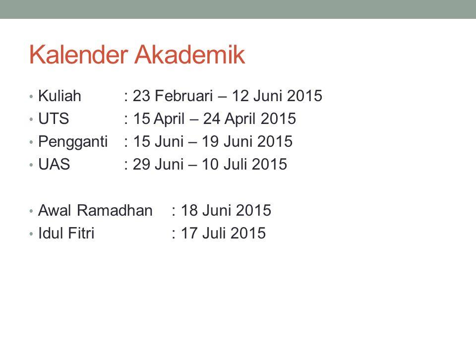 Kalender Akademik Kuliah: 23 Februari – 12 Juni 2015 UTS: 15 April – 24 April 2015 Pengganti : 15 Juni – 19 Juni 2015 UAS: 29 Juni – 10 Juli 2015 Awal Ramadhan: 18 Juni 2015 Idul Fitri: 17 Juli 2015