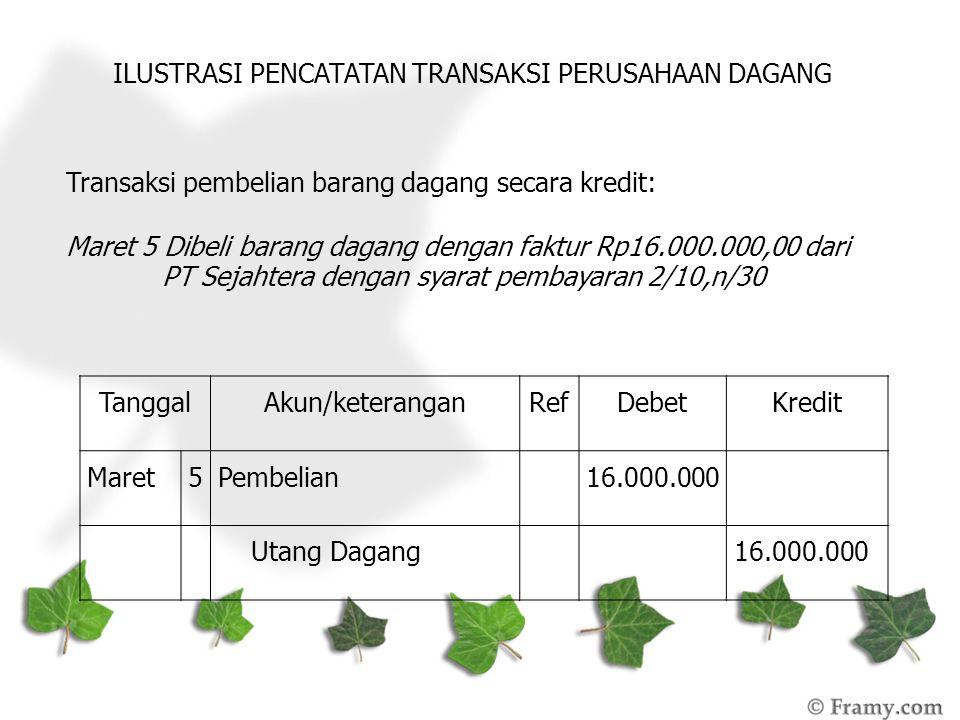 ILUSTRASI PENCATATAN TRANSAKSI PERUSAHAAN DAGANG Transaksi pembelian barang dagang secara kredit: Maret 5 Dibeli barang dagang dengan faktur Rp16.000.