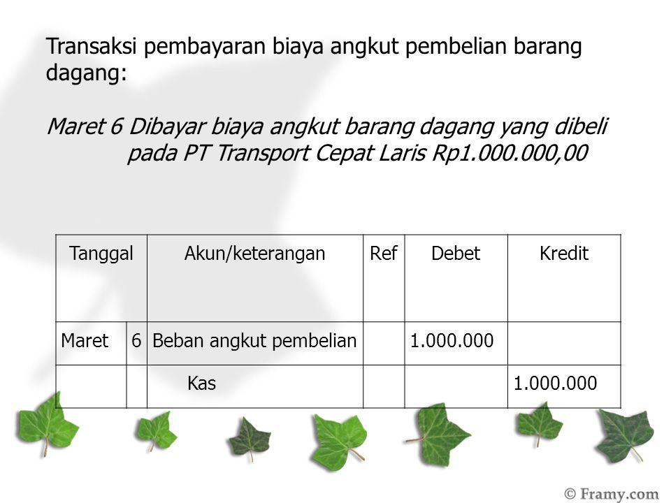 Transaksi pembayaran biaya angkut pembelian barang dagang: Maret 6 Dibayar biaya angkut barang dagang yang dibeli pada PT Transport Cepat Laris Rp1.00