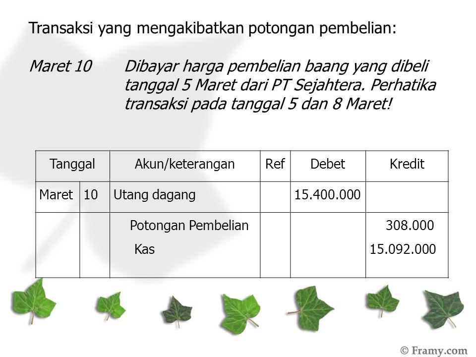 Transaksi yang mengakibatkan potongan pembelian: Maret 10Dibayar harga pembelian baang yang dibeli tanggal 5 Maret dari PT Sejahtera. Perhatika transa