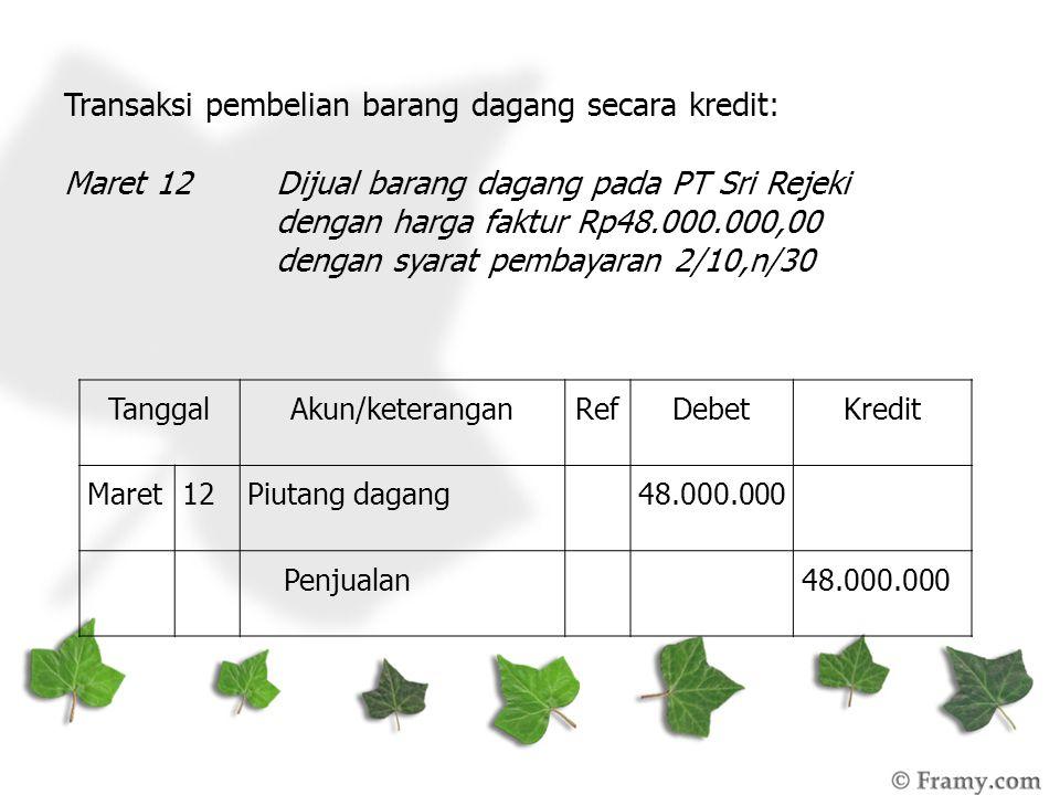 Transaksi pembelian barang dagang secara kredit: Maret 12Dijual barang dagang pada PT Sri Rejeki dengan harga faktur Rp48.000.000,00 dengan syarat pem