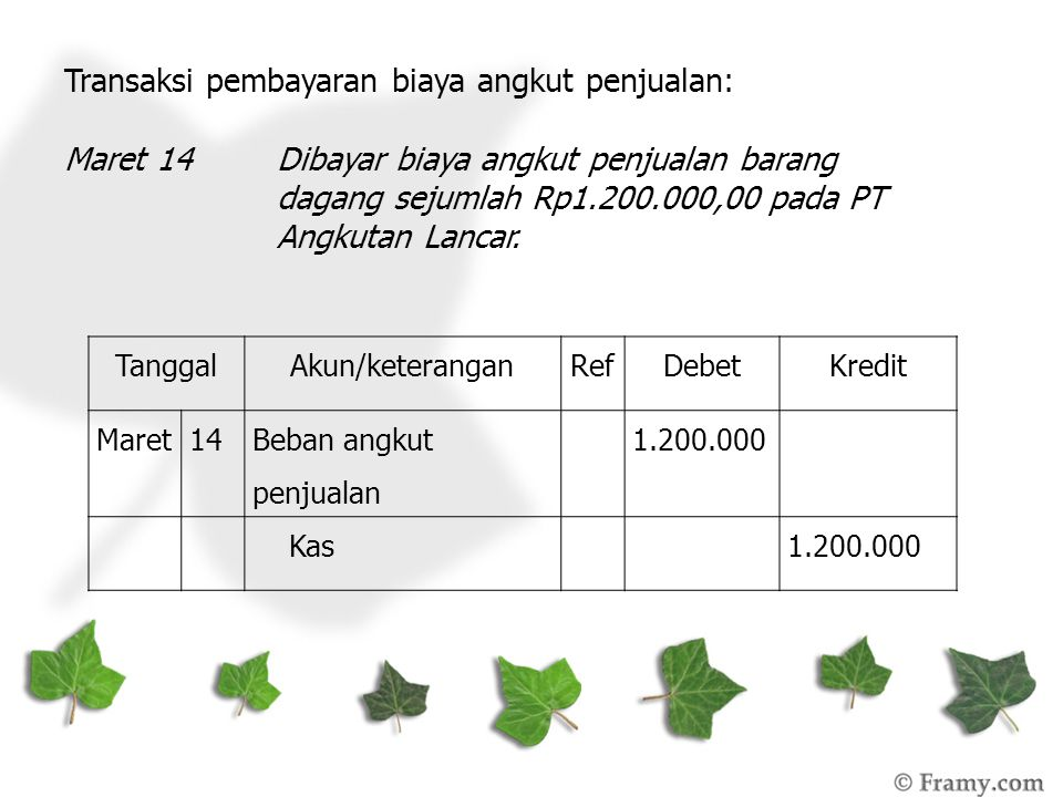 Transaksi pembayaran biaya angkut penjualan: Maret 14Dibayar biaya angkut penjualan barang dagang sejumlah Rp1.200.000,00 pada PT Angkutan Lancar. Tan