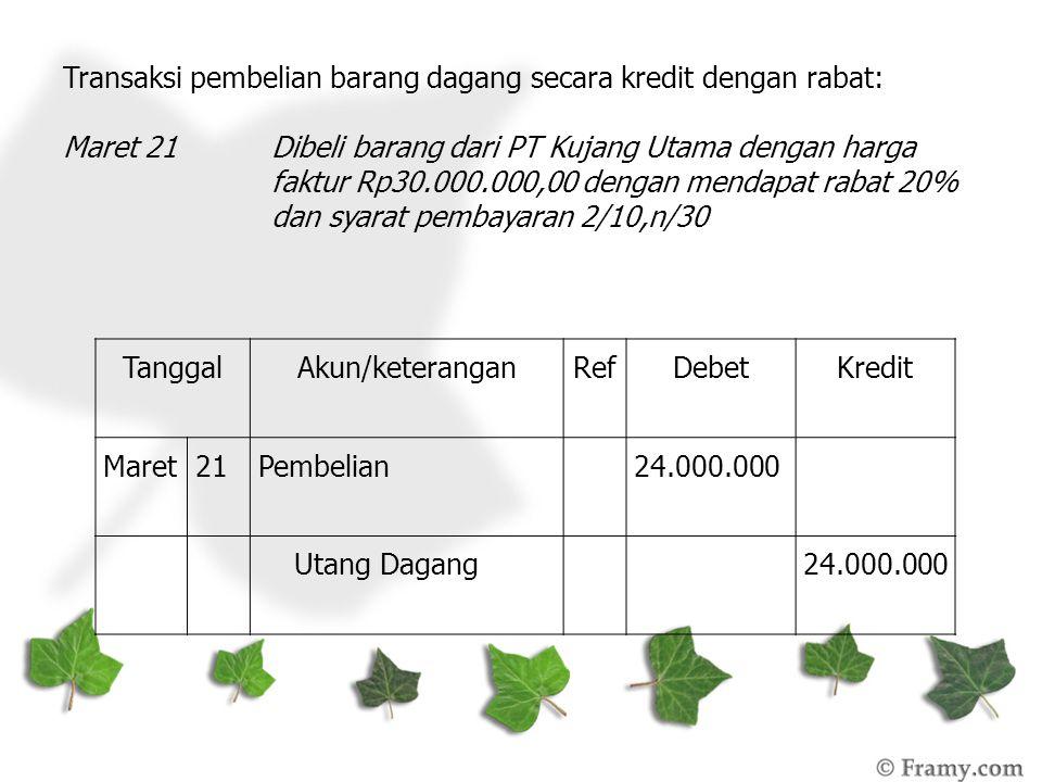 Transaksi pembelian barang dagang secara kredit dengan rabat: Maret 21 Dibeli barang dari PT Kujang Utama dengan harga faktur Rp30.000.000,00 dengan m