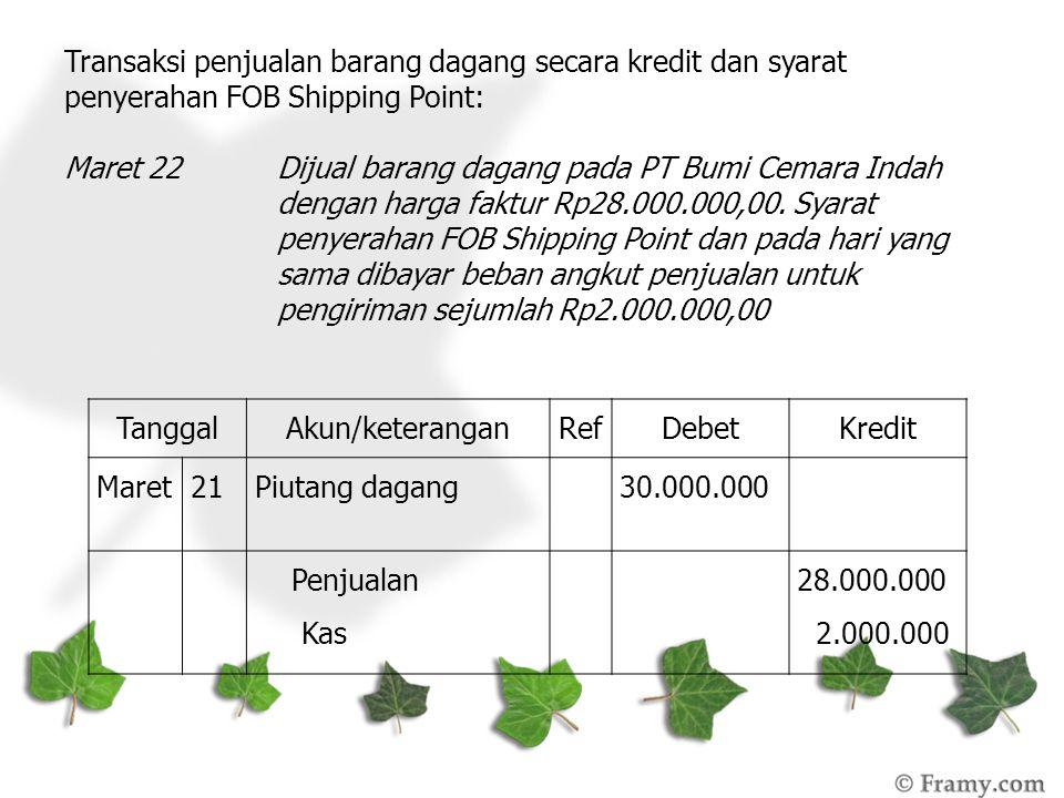 Transaksi penjualan barang dagang secara kredit dan syarat penyerahan FOB Shipping Point: Maret 22Dijual barang dagang pada PT Bumi Cemara Indah denga