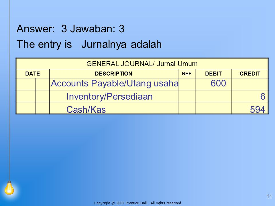 Copyright © 2007 Prentice-Hall. All rights reserved 11 Answer: 3 Jawaban: 3 The entry is Jurnalnya adalah GENERAL JOURNAL/ Jurnal Umum DATEDESCRIPTION