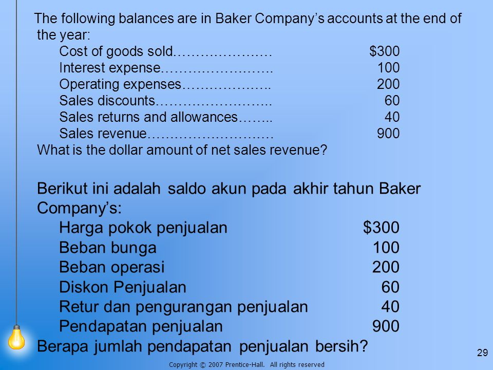 Copyright © 2007 Prentice-Hall. All rights reserved 29 The following balances are in Baker Company's accounts at the end of the year: Cost of goods so