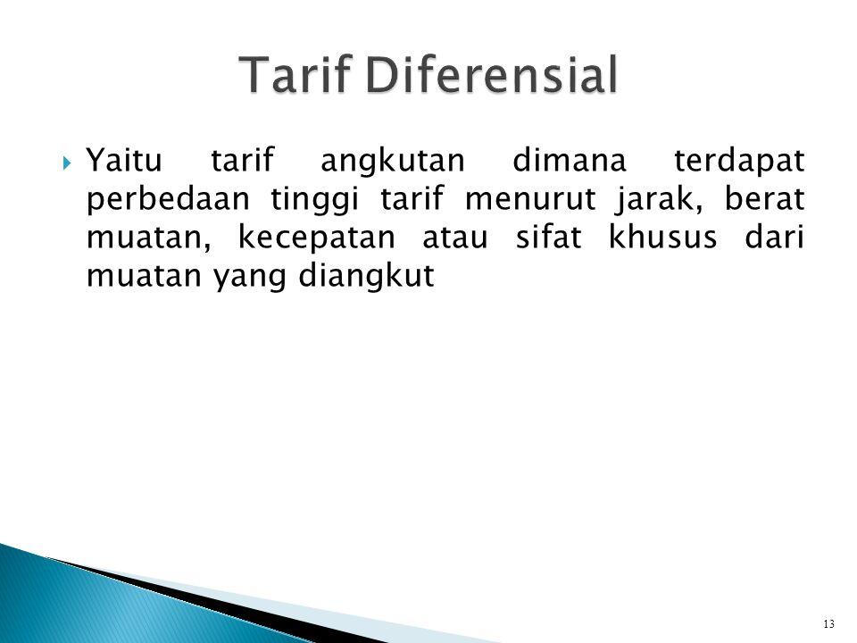  Yaitu tarif angkutan dimana terdapat perbedaan tinggi tarif menurut jarak, berat muatan, kecepatan atau sifat khusus dari muatan yang diangkut 13