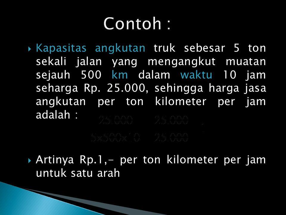  Kapasitas angkutan truk sebesar 5 ton sekali jalan yang mengangkut muatan sejauh 500 km dalam waktu 10 jam seharga Rp.