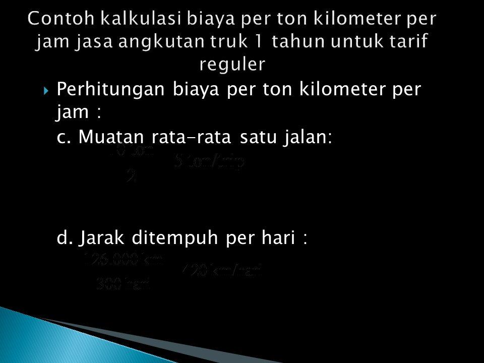  Perhitungan biaya per ton kilometer per jam : c.
