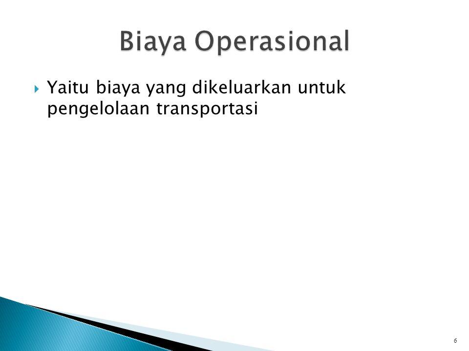  Yaitu biaya yang dikeluarkan untuk pengelolaan transportasi 6