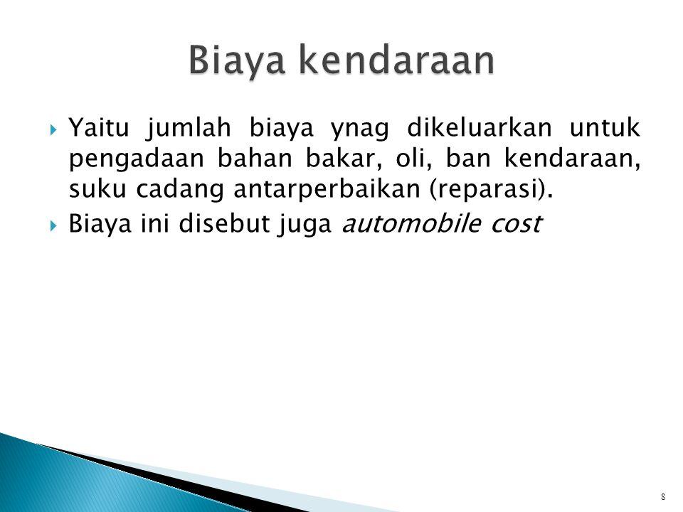  Yaitu jumlah biaya ynag dikeluarkan untuk pengadaan bahan bakar, oli, ban kendaraan, suku cadang antarperbaikan (reparasi).