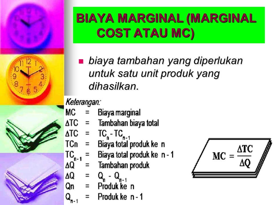 BIAYA MARGINAL (MARGINAL COST ATAU MC) biaya tambahan yang diperlukan untuk satu unit produk yang dihasilkan. biaya tambahan yang diperlukan untuk sat