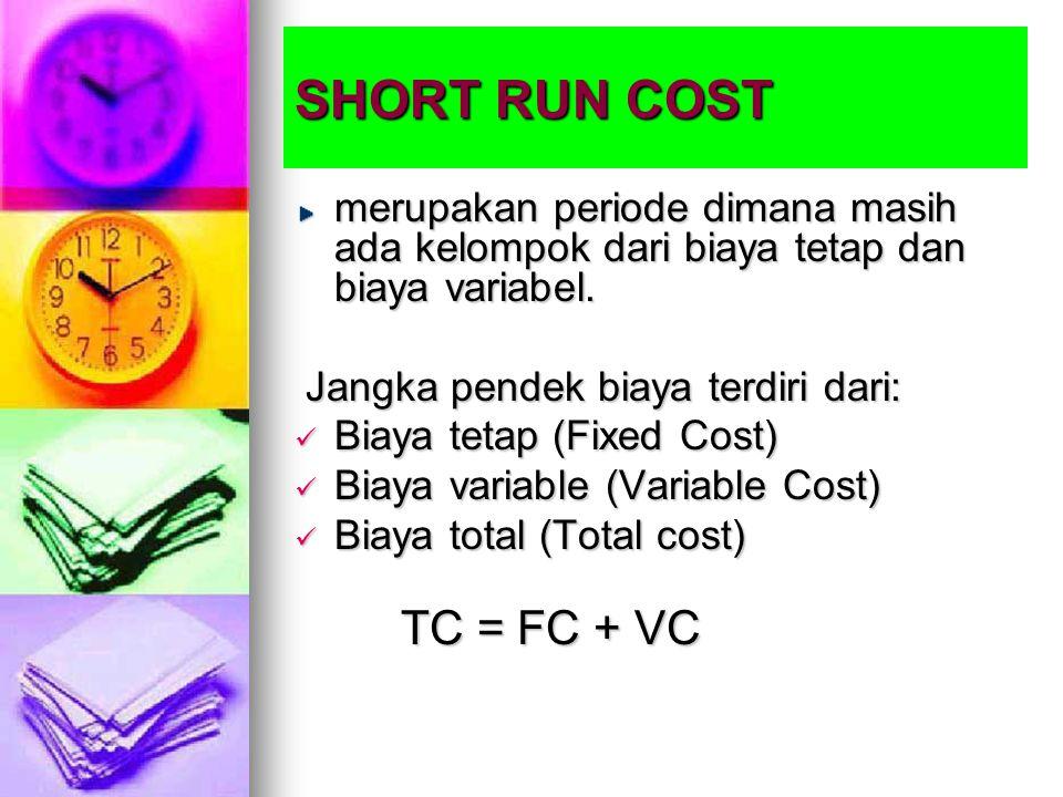 SHORT RUN COST merupakan periode dimana masih ada kelompok dari biaya tetap dan biaya variabel. Jangka pendek biaya terdiri dari: Jangka pendek biaya