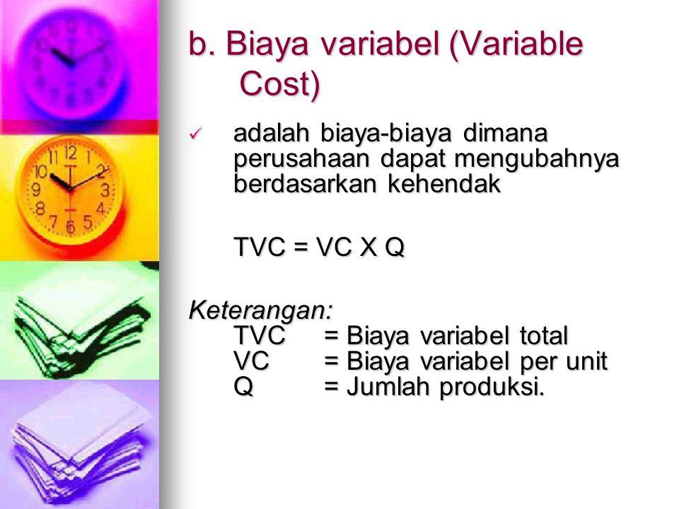 b. Biaya variabel (Variable Cost) adalah biaya-biaya dimana perusahaan dapat mengubahnya berdasarkan kehendak adalah biaya-biaya dimana perusahaan dap