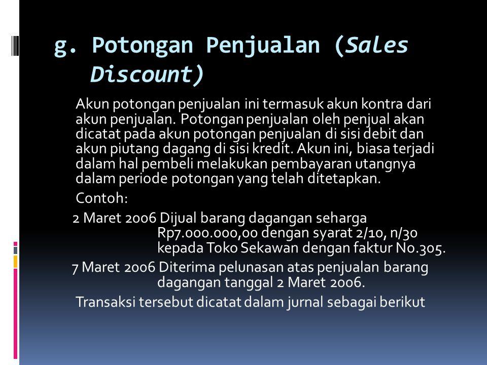 Jurnalnya TanggalKeterangan Ref DebitKredit 2006 Mei 17Retur penjualain & pengukura harga Kas Rp6.000.000,0 0 - Rp6.000.000,00