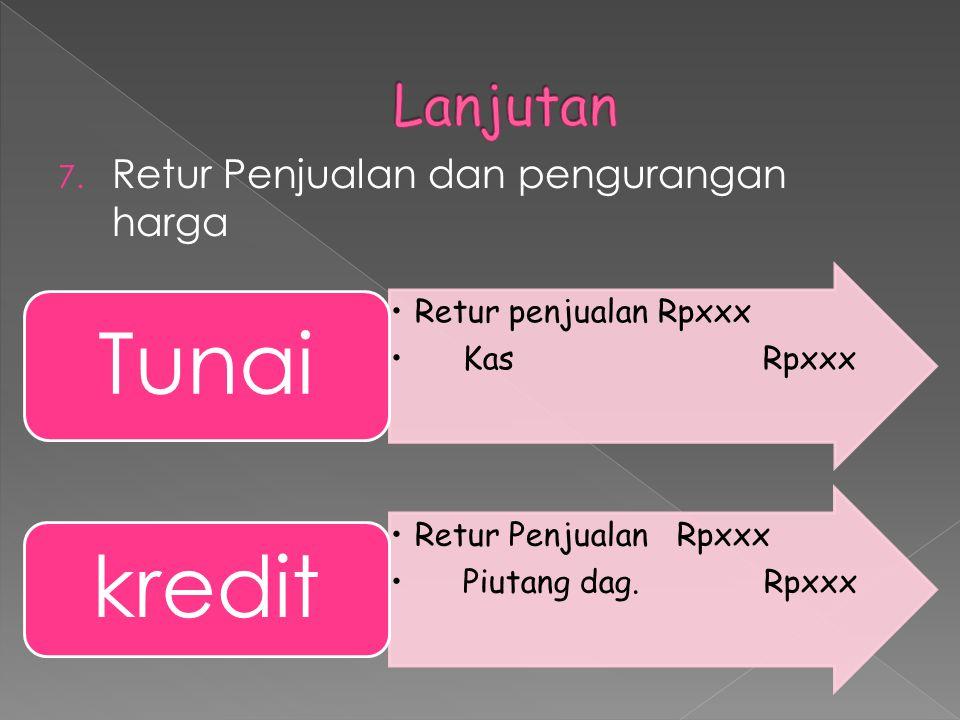 6. Potongan Penjualan Tanpa potongan Kas Rpxxx Piutang dagang Rpxxx potongan Potongan penjualan Rpxxx piutang dagangan Rpxxx