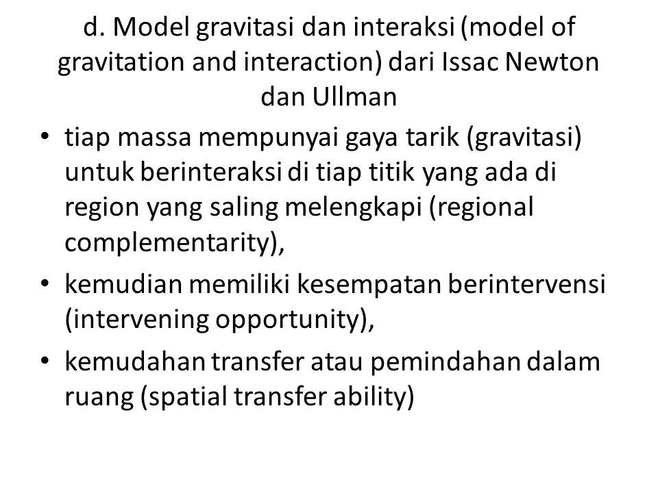 d. Model gravitasi dan interaksi (model of gravitation and interaction) dari Issac Newton dan Ullman tiap massa mempunyai gaya tarik (gravitasi) untuk