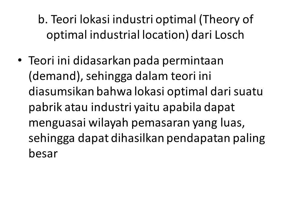 Untuk membangun teori ini, Losch juga berasumsi bahwa pada suatu tempat yang topografinya datar atau homogen, jika disuplai oleh pusat (industri) volume penjualan akan membentuk kerucut.