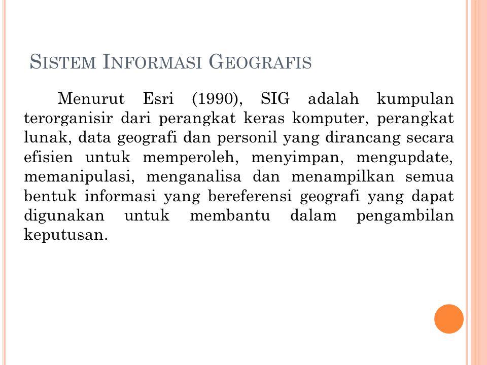 S ISTEM I NFORMASI G EOGRAFIS Menurut Esri (1990), SIG adalah kumpulan terorganisir dari perangkat keras komputer, perangkat lunak, data geografi dan personil yang dirancang secara efisien untuk memperoleh, menyimpan, mengupdate, memanipulasi, menganalisa dan menampilkan semua bentuk informasi yang bereferensi geografi yang dapat digunakan untuk membantu dalam pengambilan keputusan.