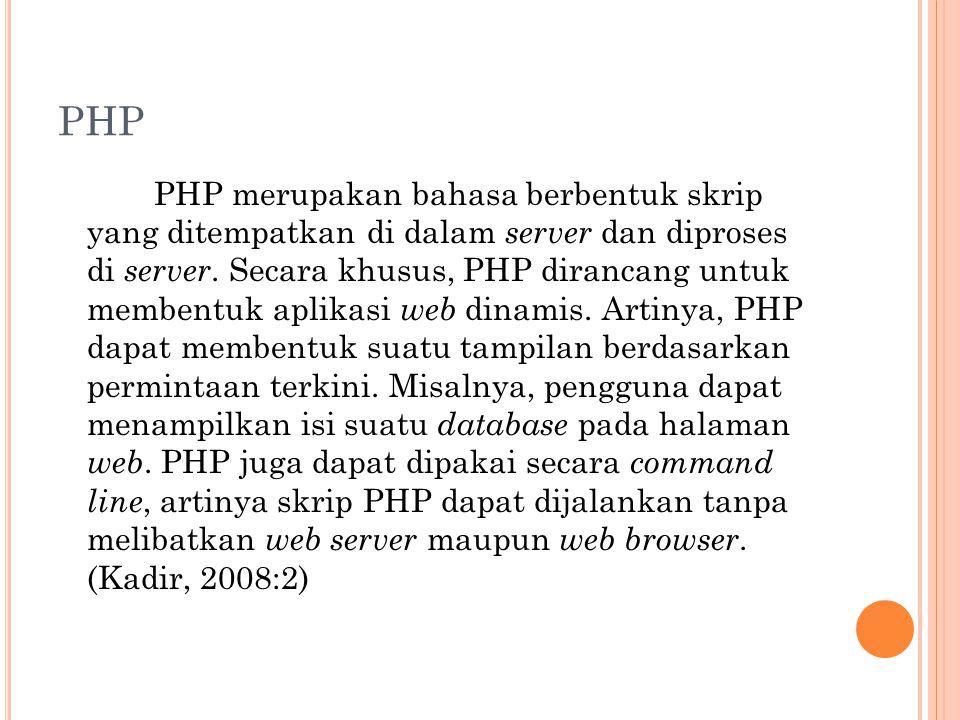PHP PHP merupakan bahasa berbentuk skrip yang ditempatkan di dalam server dan diproses di server.