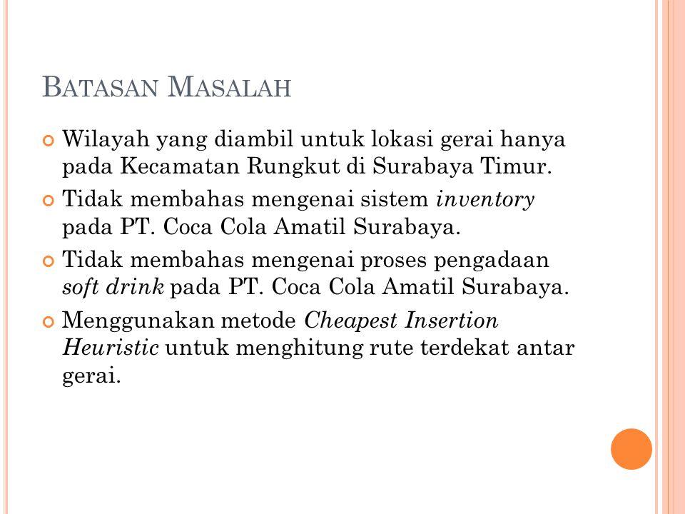 B ATASAN M ASALAH Wilayah yang diambil untuk lokasi gerai hanya pada Kecamatan Rungkut di Surabaya Timur.