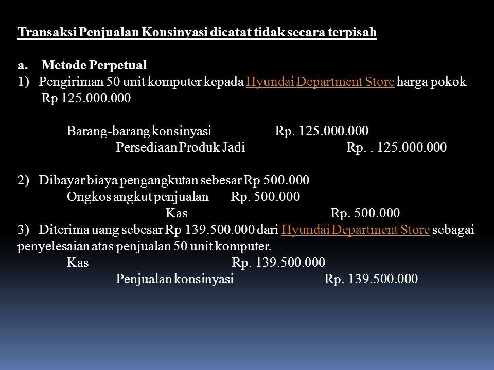 b. Metode Fisik Pengiriman 10 unit komputer kepada Hyundai Department Store harga pokok Rp 125.000.000Hyundai Department Store Barang-barang konsinyas