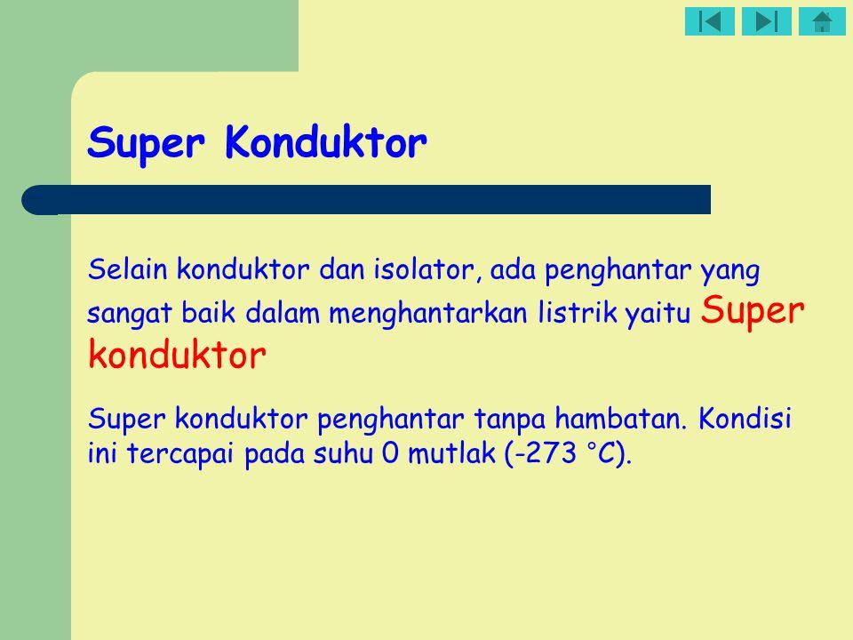 Super Konduktor Selain konduktor dan isolator, ada penghantar yang sangat baik dalam menghantarkan listrik yaitu Super konduktor Super konduktor pengh