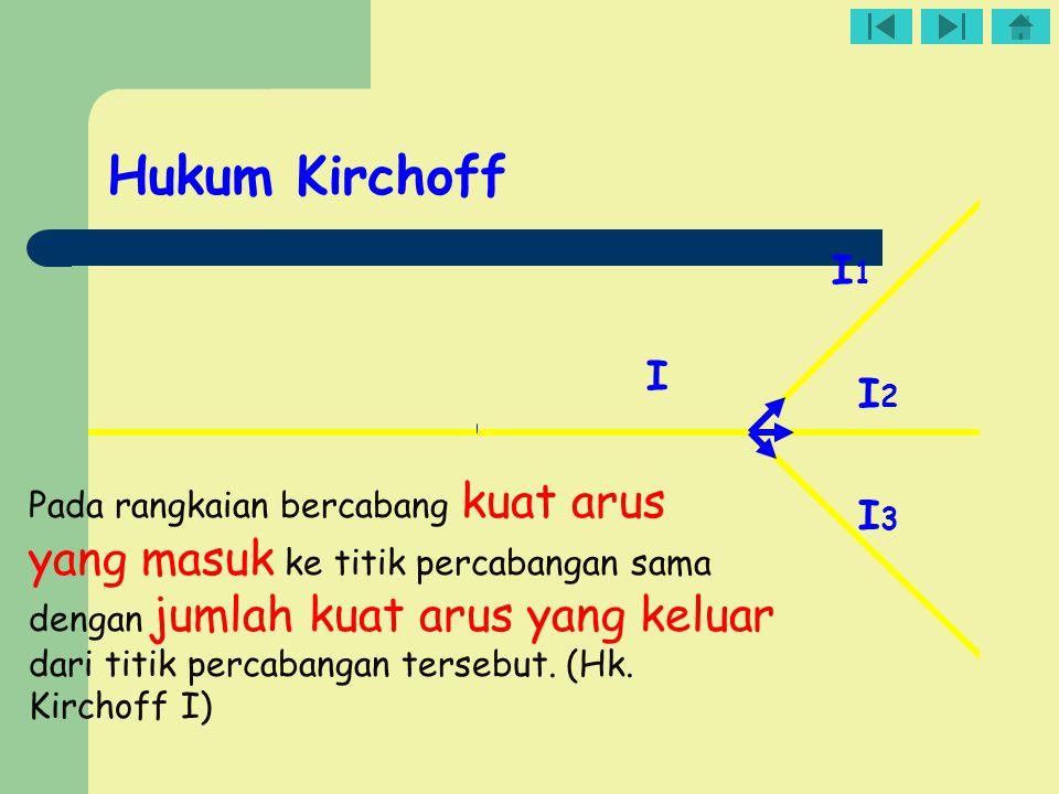 I I1I1 I2I2 I3I3 Pada rangkaian bercabang kuat arus yang masuk ke titik percabangan sama dengan jumlah kuat arus yang keluar dari titik percabangan te