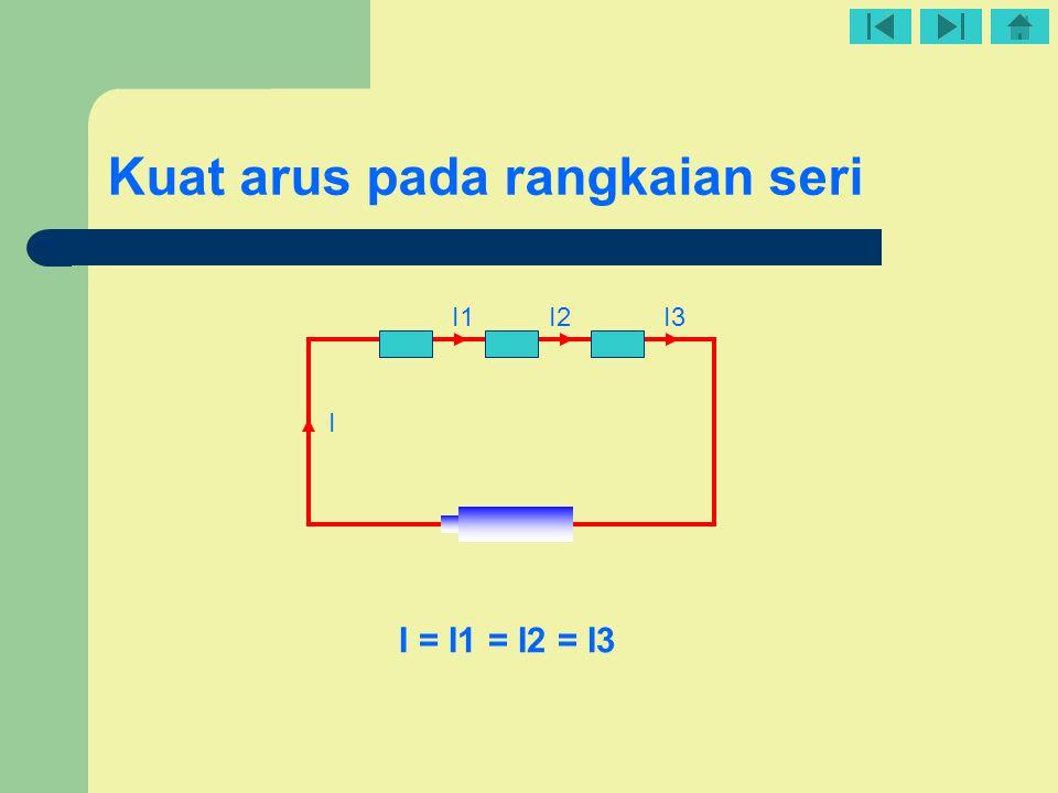 Kuat arus pada rangkaian seri I1I2I3 I I = I1 = I2 = I3