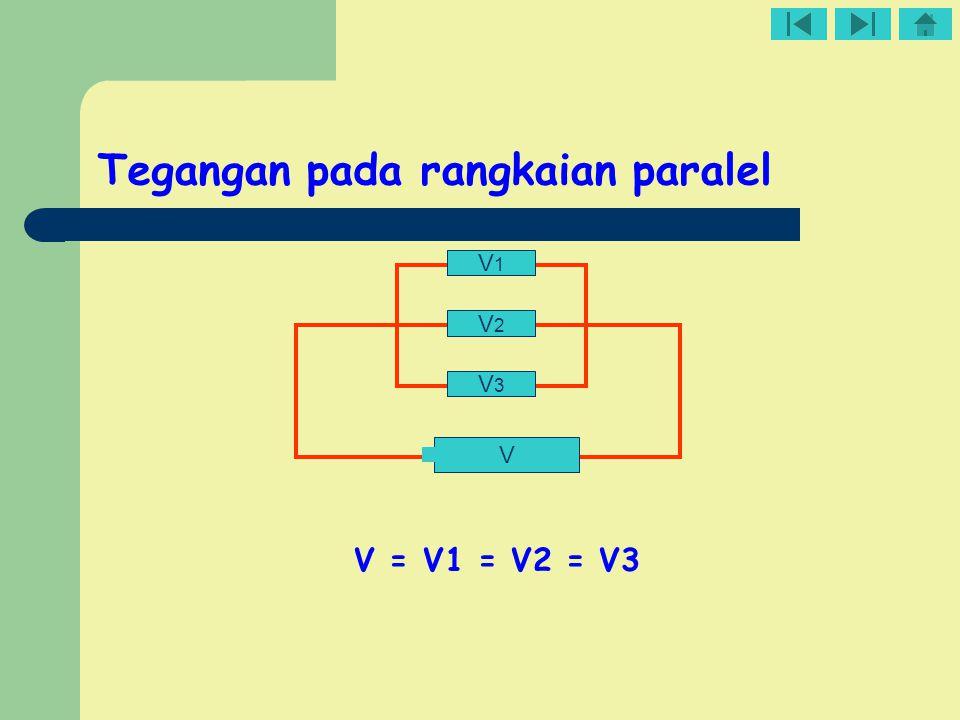 Tegangan pada rangkaian paralel V3V3 V2V2 V1V1 V V = V1 = V2 = V3