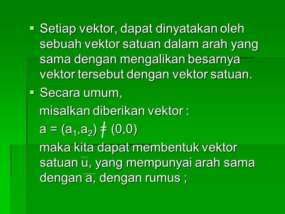  Setiap vektor, dapat dinyatakan oleh sebuah vektor satuan dalam arah yang sama dengan mengalikan besarnya vektor tersebut dengan vektor satuan.  Se