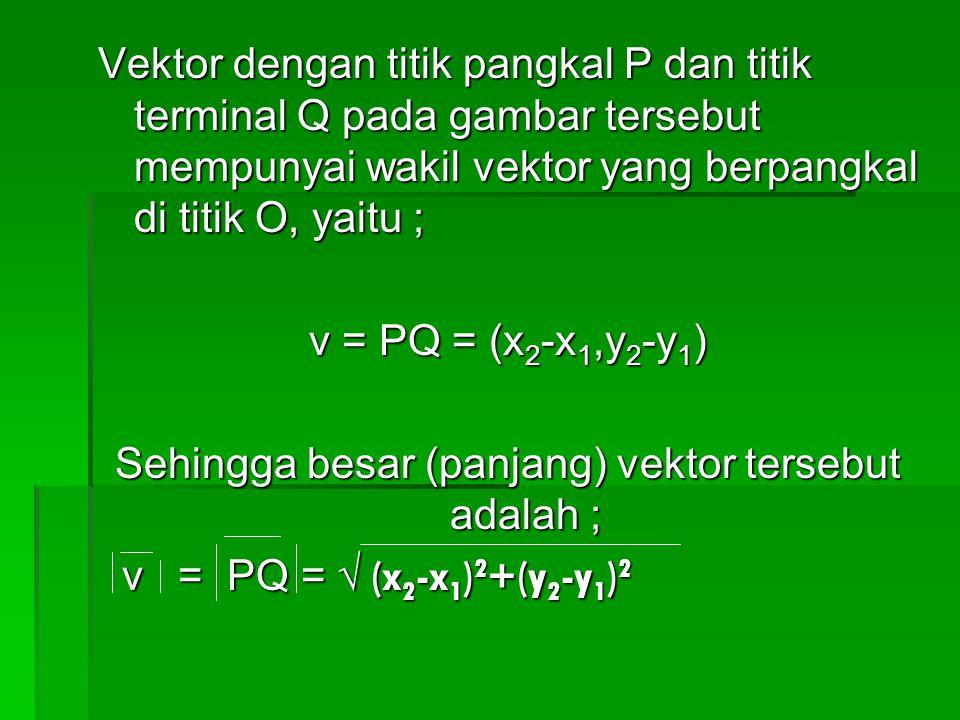 Vektor dengan titik pangkal P dan titik terminal Q pada gambar tersebut mempunyai wakil vektor yang berpangkal di titik O, yaitu ; v = PQ = (x 2 -x 1,