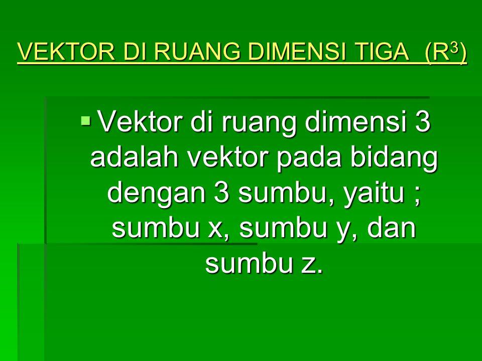 X Y A (x,y,z) Z y x z O Pada gambar berikut, anak panah tersebut disebut vektor (geometri) Dan ditulis sebagai ; A= OA = (x,y,z) Disebut dengan vektor posisi dari titik A.