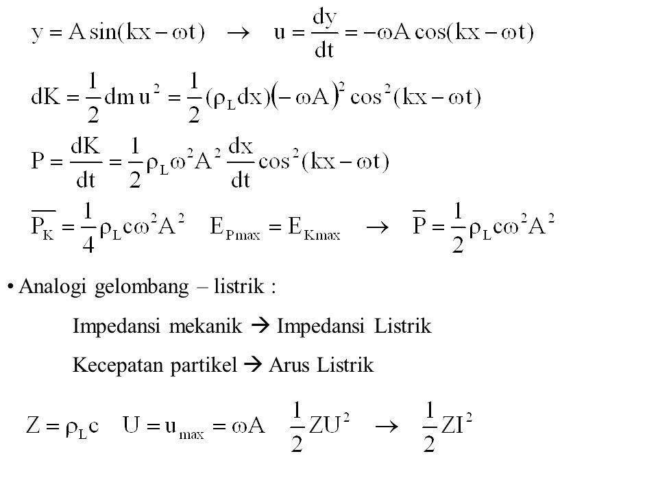 Analogi gelombang – listrik : Impedansi mekanik  Impedansi Listrik Kecepatan partikel  Arus Listrik