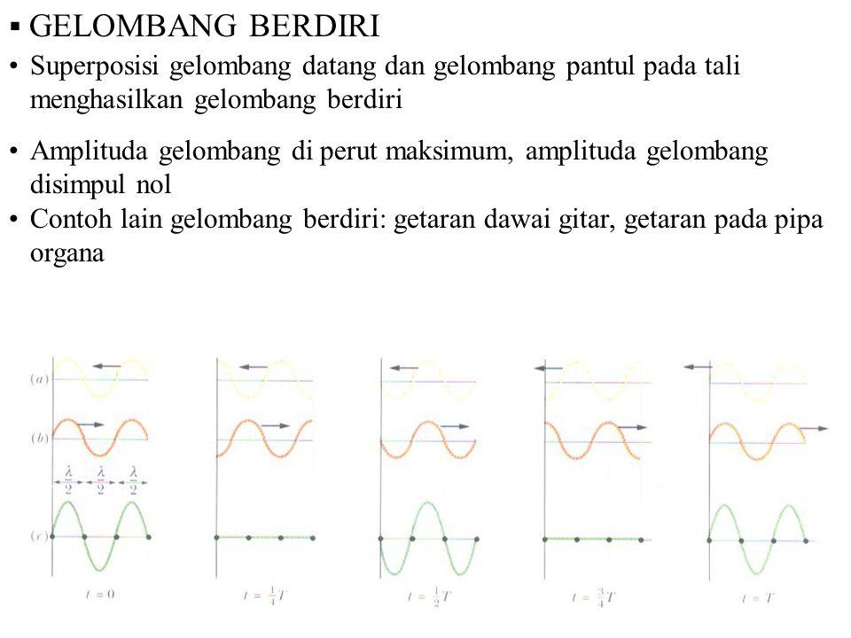  GELOMBANG BERDIRI Superposisi gelombang datang dan gelombang pantul pada tali menghasilkan gelombang berdiri Amplituda gelombang di perut maksimum,