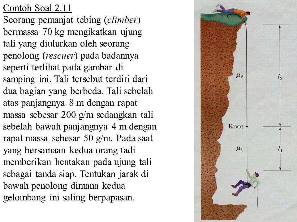 Contoh Soal 2.11 Seorang pemanjat tebing (climber) bermassa 70 kg mengikatkan ujung tali yang diulurkan oleh seorang penolong (rescuer) pada badannya