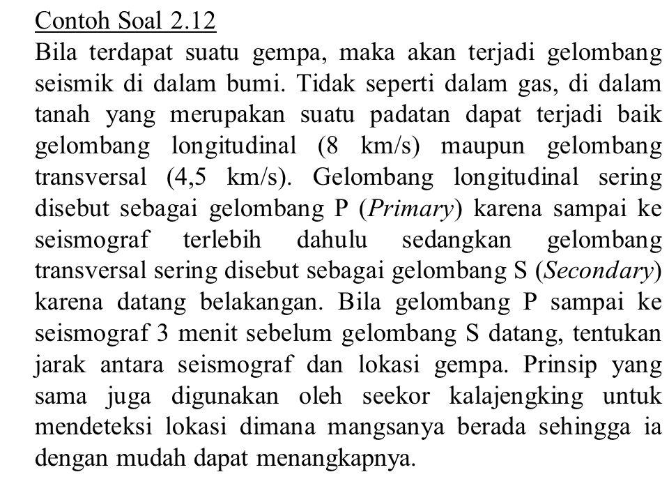 Contoh Soal 2.12 Bila terdapat suatu gempa, maka akan terjadi gelombang seismik di dalam bumi. Tidak seperti dalam gas, di dalam tanah yang merupakan