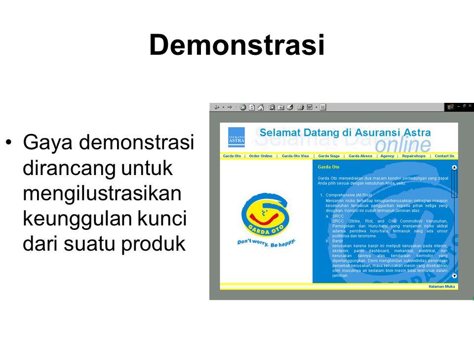 Demonstrasi Gaya demonstrasi dirancang untuk mengilustrasikan keunggulan kunci dari suatu produk