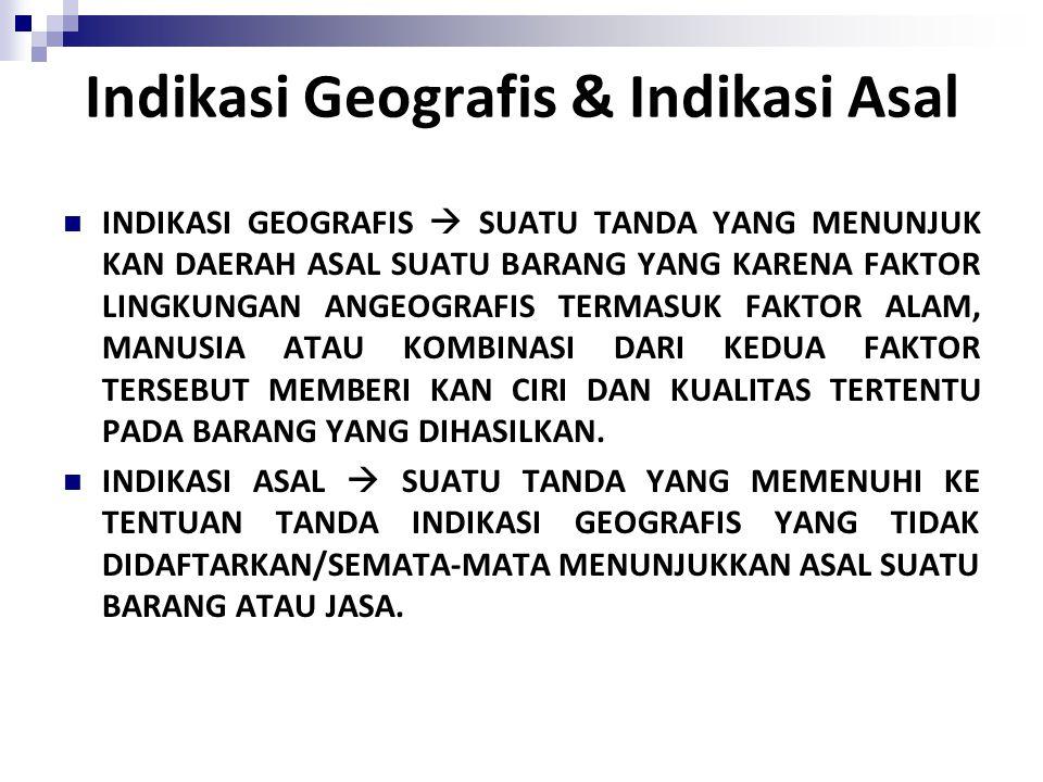 Indikasi Geografis INDIKASI GEOGRAFIS Tanda yang menunjukkan daerah asal suatu barang, yang karena faktor lingkungan geografis (faktor alam, manusia, atau kombinasi keduanya) yang memberikan ciri dan kualitas tertentu pada barang yang dihasilkan