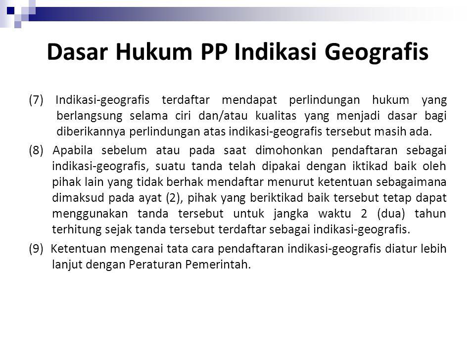 (3) Ketentuan mengenai pengumuman sebagaimana dimaksud dalam Pasal 21, Pasal 22, Pasal 23, Pasal 24, dan Pasal 25 berlaku secara mutatis mutandis bagi pengumuman permohonan pendaftaran indikasi-geografis (4) Permohonan pendaftaran indikasi-geografis ditolak oleh Direktorat Jenderal apabila tanda tersebut: a.