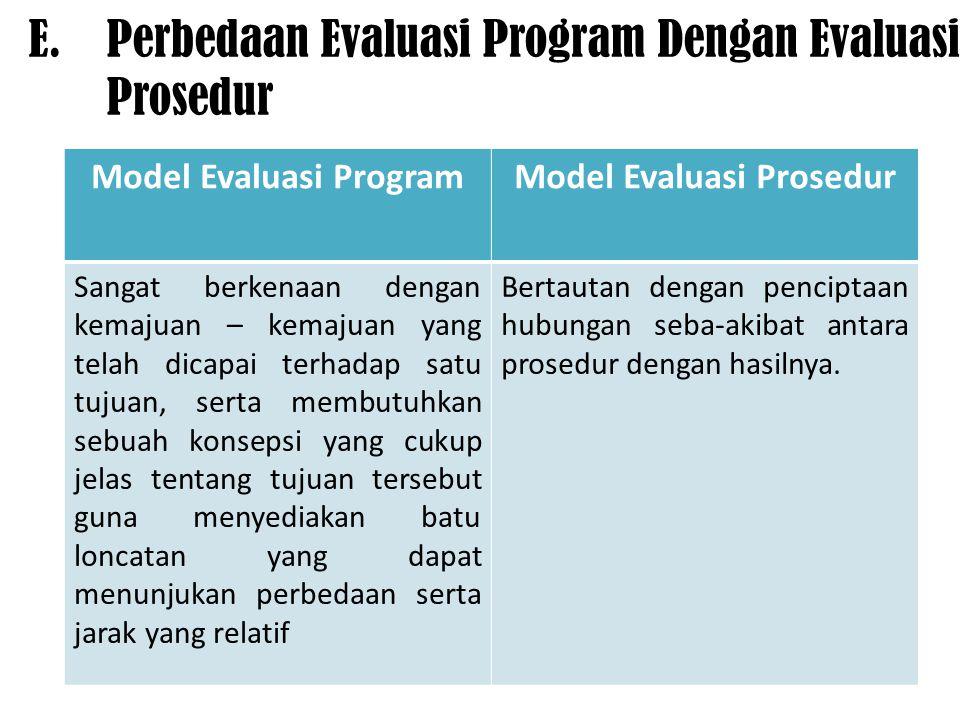 E.Perbedaan Evaluasi Program Dengan Evaluasi Prosedur Model Evaluasi ProgramModel Evaluasi Prosedur Sangat berkenaan dengan kemajuan – kemajuan yang t