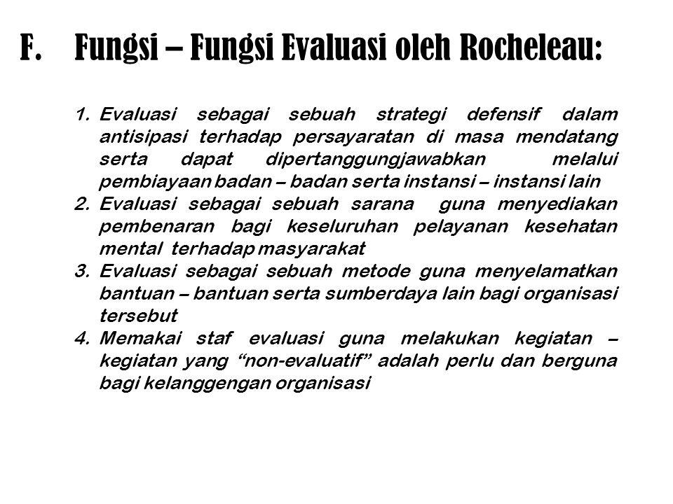 F.Fungsi – Fungsi Evaluasi oleh Rocheleau: 1.Evaluasi sebagai sebuah strategi defensif dalam antisipasi terhadap persayaratan di masa mendatang serta