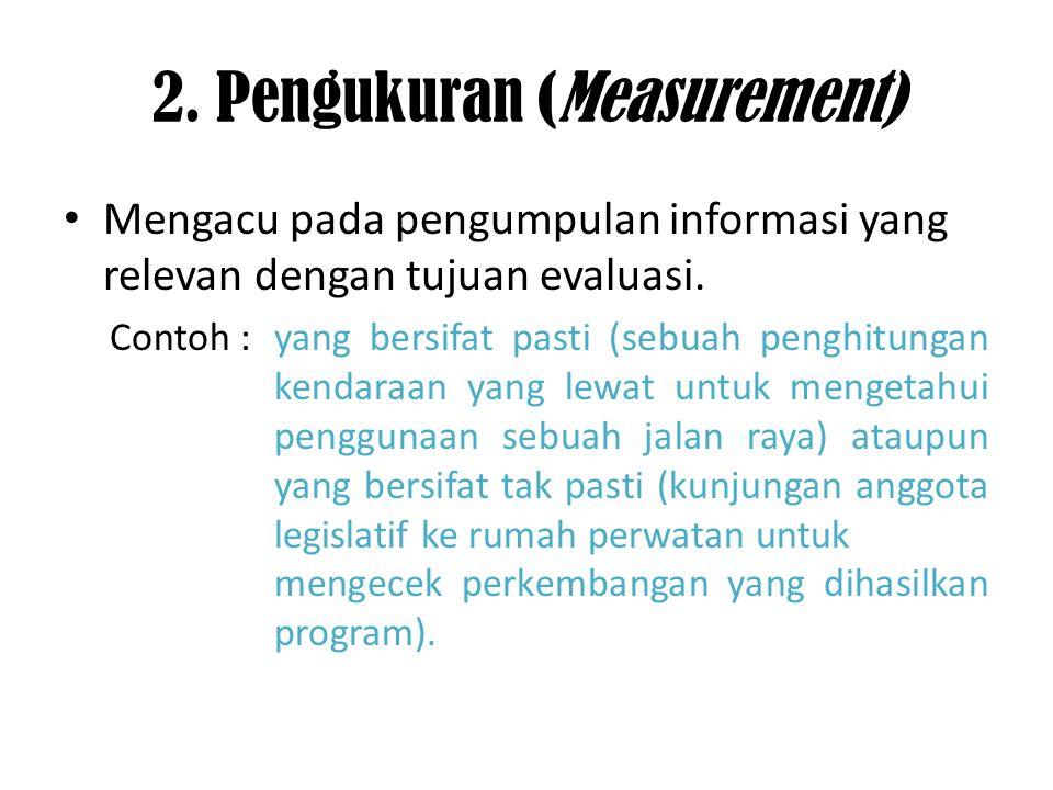 2. Pengukuran (Measurement) Mengacu pada pengumpulan informasi yang relevan dengan tujuan evaluasi. Contoh : yang bersifat pasti (sebuah penghitungan