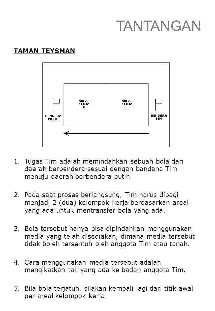 TANTANGAN TAMAN TEYSMAN 1.Tugas Tim adalah memindahkan sebuah bola dari daerah berbendera sesuai dengan bandana Tim menuju daerah berbendera putih. 2.