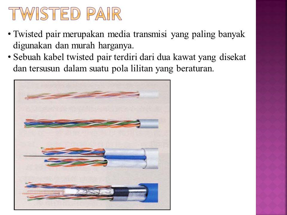 Twisted pair merupakan media transmisi yang paling banyak digunakan dan murah harganya.