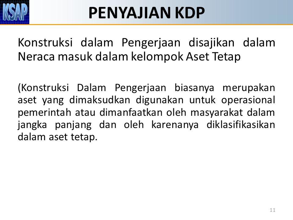PENYAJIAN KDP 11 Konstruksi dalam Pengerjaan disajikan dalam Neraca masuk dalam kelompok Aset Tetap (Konstruksi Dalam Pengerjaan biasanya merupakan as